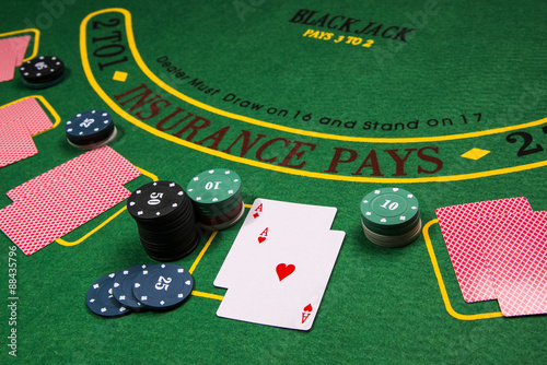 Black Jack gambling table. Cards and chips. Casino плакат