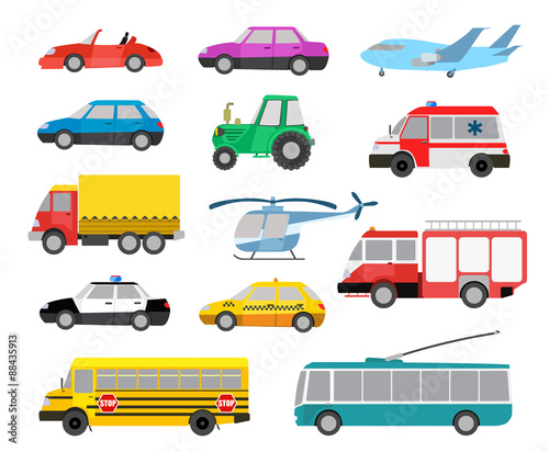 Foto op Aluminium Cartoon cars set of cartoon cute cars and other vehicles. vector illustration