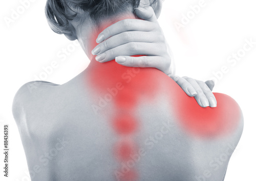 Fotografía  Young woman with neck and shoulder pain close up