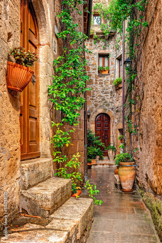 Fototapety, obrazy: Alley in old town Pitigliano Tuscany Italy