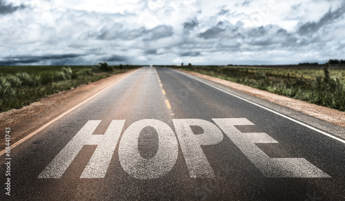 Fototapeta Hope written on rural road