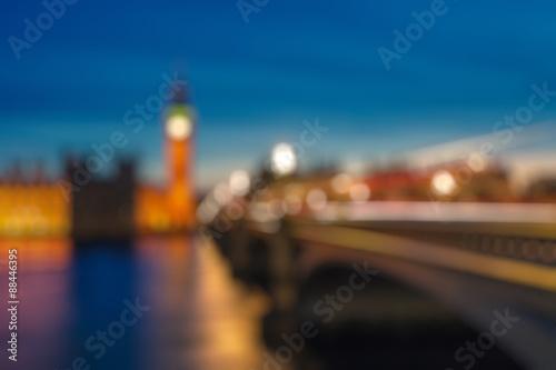 Bokeh of Big Ben and Westminster bridge, London