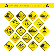 Natural Disaster Warning Signs, Caution, Danger, Hazard Symbol Set