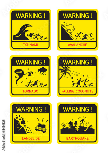 Natural Disaster Warning Signs Family Running Caution Danger