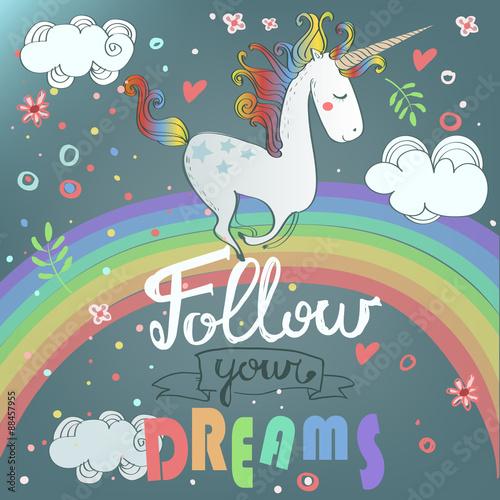 Fotografie, Obraz  cute unicorn