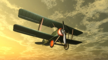 Fototapeta Środki transportu Biplane by sunset - 3D render