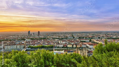 View of Lyon city during sunrise