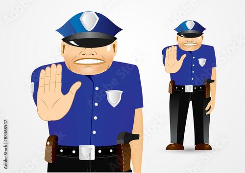 Foto op Aluminium Pixel policeman showing stop gesture