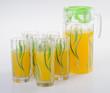 Orange juice in jar. on background