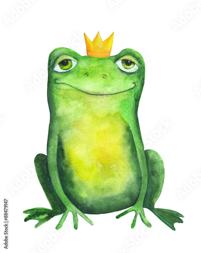 Fotografie, Obraz  Frog in crown. Watercolor