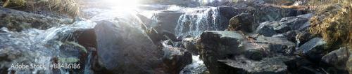 Küchenrückwand aus Glas mit Foto Wasserfalle cascade of water from the mountains in the Arctic