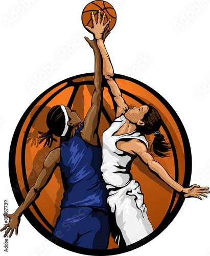 plakat Women Basketball Jump Ball color