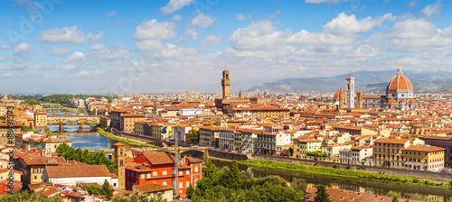 Foto op Plexiglas Toscane Florence panorama Ponte Vecchio, Palazzo Vecchio, Cathedral Santa Maria Del Fiore from Piazzale Michelangelo (Tuscany, Italy)