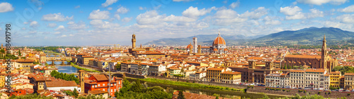 Poster Florence Florence panorama Ponte Vecchio, Palazzo Vecchio, Cathedral Santa Maria Del Fiore and Basilica di Santa Croce from Piazzale Michelangelo (Tuscany, Italy)