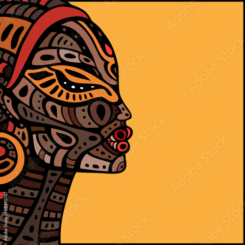 Profile of beautiful African woman. Canvas Print