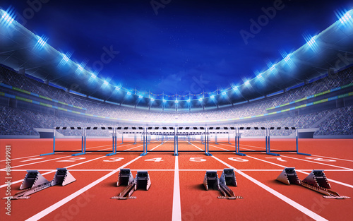 Fotografie, Obraz  athletics stadium with race track with starting blocks and hurdles