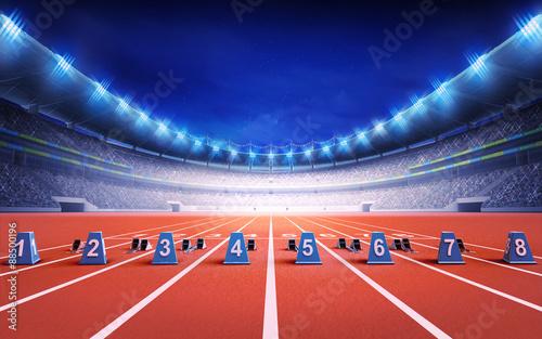 Fotografía athletics stadium with race track with starting blocks