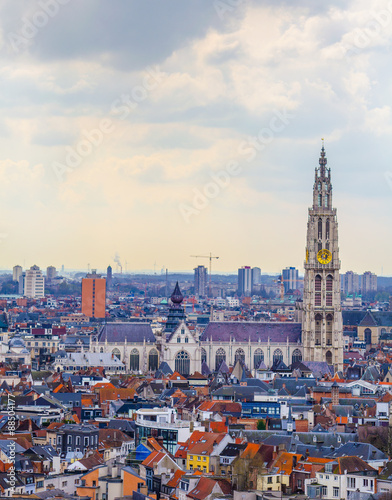 Foto op Plexiglas Antwerpen View over Antwerp with cathedral of our lady taken from the top of mas museum.