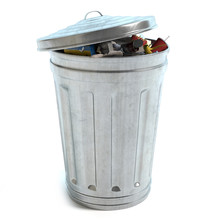3d Illustration Of A Garbage Can Full Of Trash