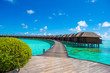Beautiful tropical view of water villas on perfect ideal island