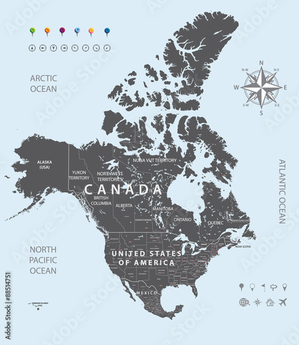 Vector black map of United States, Canada and Mexico states ...