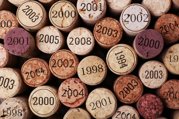 Panel Szklany Wino Wine corks close up