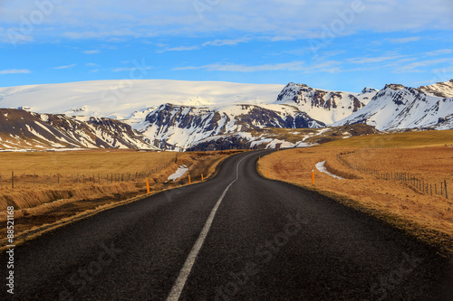 Photo Stands Eggplant Road leading to snow covered mountains