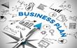 Leinwanddruck Bild - Business Plan mit Kompass und Symbolen