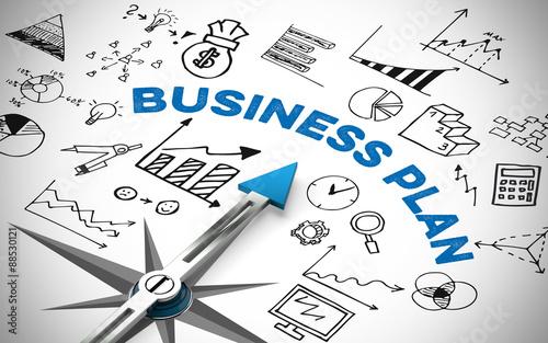 Fotografia  Business Plan mit Kompass und Symbolen