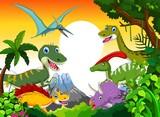 Fototapeta Dinusie - Dinosaur cartoon with landscape mount backgroun for you design
