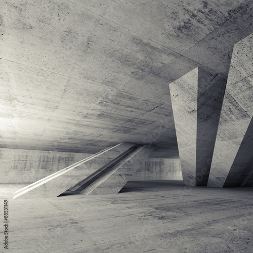 Abstract empty concrete room, 3d interior