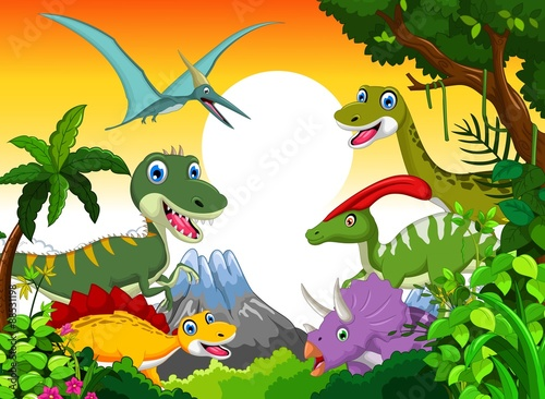 obraz lub plakat Dinosaur cartoon with landscape mount backgroun for you design