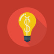 Business Flat Icon. Light Bulb with dollar symbol