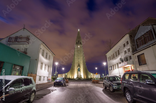 Hallgrimskirkja Cathedral in Reykjavik, Iceland Tablou Canvas