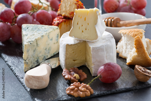 Fotografie, Obraz  molded cheeses and snacks on the blackboard