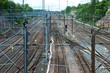 Railway tracks in Helsinki, Finland.