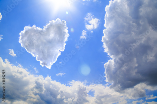 Photo  Heart shape of clouds