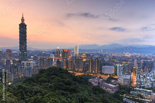 фотография  Taipei, Taiwan skyline at twilight