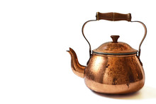 Old Copper Teapot Isolated On ...