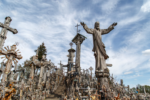Poster Artistic monument Hill of Crosses with Crucifix