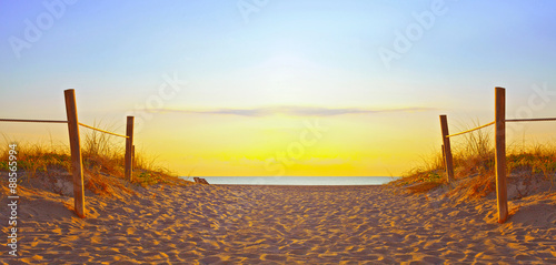 Foto op Canvas Strand Path on the sand going to the ocean in Miami Beach Florida at sunrise or sunset, beautiful nature landscape, retro instagram filter for vintage looks