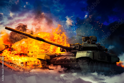Fotografia  The military destroyed the enemy tank