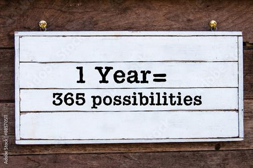 Fényképezés  Inspirational message - One Year equal 365 possibilities