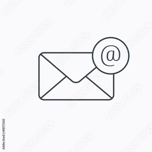 Fotografie, Obraz  Envelope mail icon. Email message with AT sign.