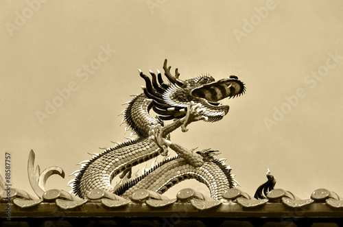 Valokuva  Dragon on the rooftop of the Kheng Hock Keong Buddhist  Temple in China Town, Yangon, Myanmar
