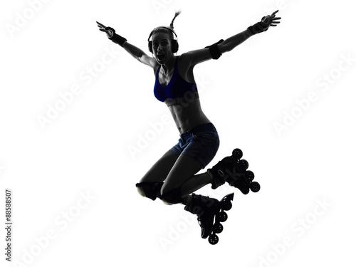 Fotografia woman in roller skates  silhouette
