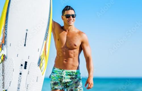 Surfing, Men, Male. Wallpaper Mural