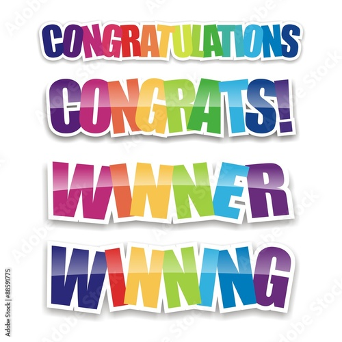 Fotografering  Congratulations Icons - Rainbow Color - congratulations colorful on white backgr