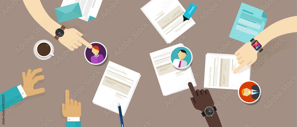 Fototapeta select cv resume on the desk employee recruitment process