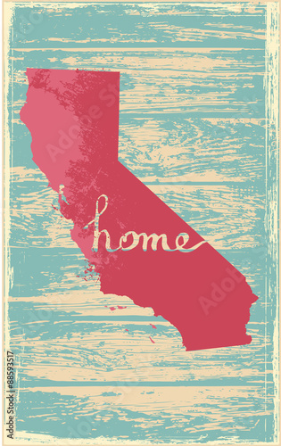 California nostalgic rustic vintage state vector sign